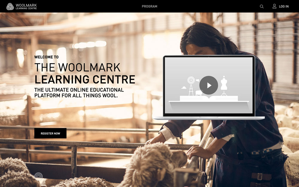 Woolmark Learning Centre homepage screenshot.